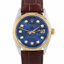Rolex Datejust 36 mm 1601 Yellow Gold & Stainless Steel, Custom Blue Diamond, Fluted Bezel On A Dark Brown Alligator Leather Strap - Men's Pre-Owned Watch