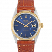 Rolex Datejust 1601 Blue Stick Dial 18k Yellow Gold & Stainless Steel - Fluted Bezel On A Brown Alligator Leather Strap - Pre-Owned