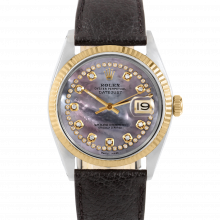 Rolex Datejust 36 1601 Yellow Gold & Steel, Custom Black MOP String Diamond Dial, Fluted Bezel On A Black Buffalo Leather Strap - Men's Pre-Owned Watch