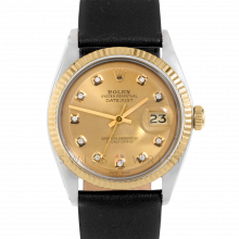 Rolex Datejust 36 mm 1601 Yellow Gold & Steel, Custom Champagne Diamond, Fluted Bezel On A Black Leather Strap - Men's Pre-Owned Watch