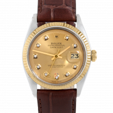 Rolex Datejust 36 mm 1601 Yellow Gold & Steel, Custom Champagne Diamond, Fluted Bezel On A Brown Alligator Leather Strap - Men's Pre-Owned Watch