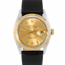 Rolex Datejust 1601 Champagne Stick Dial 18k Yellow Gold & Stainless Steel - Fluted Bezel On A Black Leather Strap - Pre-Owned