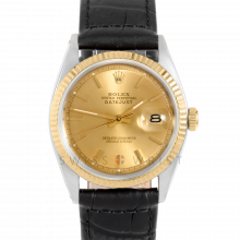 Rolex Datejust 1601 Champagne Stick Dial 18k Yellow Gold & Stainless Steel - Fluted Bezel On A Black Alligator Leather Strap - Pre-Owned