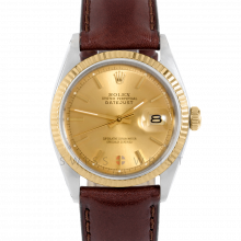 Rolex Datejust 1601 Champagne Stick Dial 18k Yellow Gold & Stainless Steel - Fluted Bezel On A Brown Leather Strap - Pre-Owned