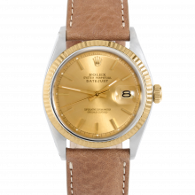 Rolex Datejust 36 1601 Yellow Gold & Stainless Steel, Refinished Champagne Stick	, Fluted Bezel On A Tan Texas Calf Leather Strap - Men's Pre-Owned Watch
