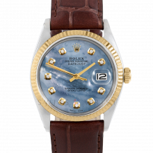 Rolex Datejust 36 1601 Yellow Gold & Steel, Custom Blue Mother of Pearl Diamond, Fluted Bezel On A Brown Alligator Leather Strap - Men's Pre-Owned Watch