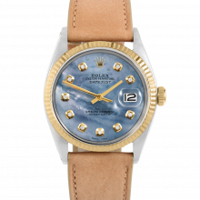 Rolex Datejust 36 1601 Yellow Gold & Steel, Custom Blue Mother of Pearl, Fluted Bezel On A Taupe Calf Leather Strap - Men's Pre-Owned Watch