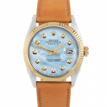Rolex Datejust 36 1601 Yellow Gold & Steel, Custom Light Blue Mother of Pearl, Fluted Bezel On A Tan Calf Leather Strap - Men's Pre-Owned Watch