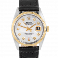 Rolex Datejust 36 mm 1601 Yellow Gold & Steel, Custom Mother of Pearl Diamond, Fluted Bezel On A Black Alligator Leather Strap - Men's Pre-Owned Watch