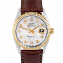 Rolex Datejust 36 mm 1601 Yellow Gold & Steel, Custom Mother of Pearl Diamond, Fluted Bezel On A Brown Leather Strap - Men's Pre-Owned Watch