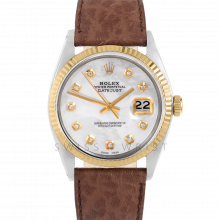 Rolex Datejust 36 1601 Yellow Gold & Steel, Custom Mother of Pearl Diamond, Fluted Bezel On A Brown Buffalo Leather Strap - Men's Pre-Owned Watch
