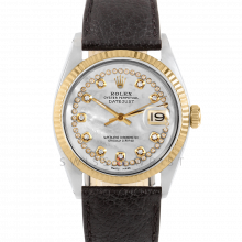 Rolex Datejust 36 1601 Yellow Gold & Steel, Custom MOP String Diamond Dial, Fluted Bezel On A Black Buffalo Leather Strap - Men's Pre-Owned Watch