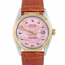 Rolex Datejust 36 mm 1601 Yellow Gold & Steel, Custom Pink Mother of Pearl Diamond, Fluted Bezel On A Brown Alligator Leather Strap - Men's Pre-Owned Watch