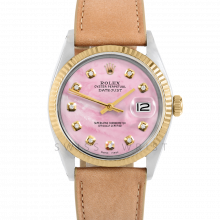 Rolex Datejust 36 1601 Yellow Gold & Steel, Custom Pink Mother of Pearl Diamond, Fluted Bezel On A Taupe Calf Leather Strap - Men's Pre-Owned Watch