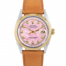 Rolex Datejust 36 1601 Yellow Gold & Steel, Custom Pink MOP String Diamond Dial, Fluted Bezel On A Tan Calf Leather Strap - Men's Pre-Owned Watch