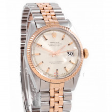Rolex Datejust 1601 Silver Stick Dial 36 mm Rose Gold & Stainless Steel  with Fluted Bezel On A Jubilee Band - Pre-Owned