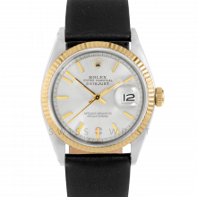 Rolex Datejust 1601 Silver Stick Dial 18k Yellow Gold & Stainless Steel - Fluted Bezel On A Black Leather Strap - Pre-Owned