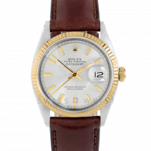 Rolex Datejust 1601 Silver Stick Dial 18k Yellow Gold & Stainless Steel - Fluted Bezel On A Brown Leather Strap - Pre-Owned