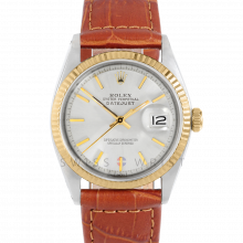 Rolex Datejust 1601 Silver Stick Dial 18k Yellow Gold & Stainless Steel - Fluted Bezel On A Brown Alligator Leather Strap - Pre-Owned