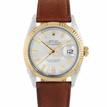 Rolex Datejust 36 1601 Yellow Gold & Stainless Steel, Refinished Silver Stick, Fluted Bezel On A Mahogany Calf Leather Strap - Men's Pre-Owned Watch