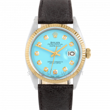 Rolex Datejust 36 1601 Yellow Gold & Steel, Custom Turquoise Diamond, Fluted Bezel On A Black Buffalo Leather Strap - Men's Pre-Owned Watch
