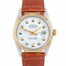 Rolex Datejust 36 mm 1601 Yellow Gold & Stainless Steel, Custom White Diamond, Fluted Bezel On A Brown Alligator Leather Strap - Men's Pre-Owned Watch