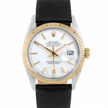 Rolex Datejust 1601 White Stick Dial 18k Yellow Gold & Stainless Steel - Fluted Bezel On A Black Leather Strap - Pre-Owned