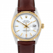 Rolex Datejust 1601 White Stick Dial - Stainless Steel - White Gold Fluted Bezel on a Brown Leather Strap - Pre-Owned