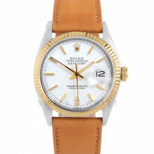 Rolex Datejust 36 1601 Yellow Gold & Stainless Steel, Refinished White Stick, Fluted Bezel On A Tan Calf Leather Strap - Men's Pre-Owned Watch