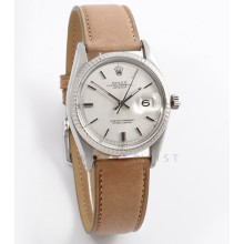 Rolex Datejust 36 mm 1601 White Gold & Stainless Steel w/ Silver Linen Stick Dial & Fluted Bezel on a Taupe Leather Strap - Men's Pre-Owned Watch