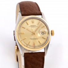 Rolex Datejust 36 mm 1601 Yellow Gold & Stainless Steel w/ Silver Stick Dial and Fluted Bezel with Jubilee Bracelet - Men's Pre-Owned Watch
