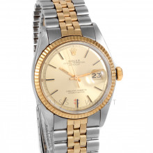 Rolex Datejust 36mm 1601 Yellow Gold & Stainless Steel w/ Champagne Stick Dial & Fluted Bezel on Jubilee Bracelet - Men's Pre-owned