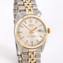 Rolex Datejust 36 mm 1601 Yellow Gold & Stainless Steel w/ Silver Stick Dial & Fluted Bezel with Jubilee Bracelet - Pre-Owned Men's Watch