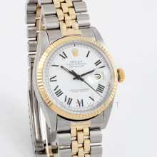 Rolex Datejust 36mm 1601 Yellow Gold & Stainless Steel w/ White 'Buckley' Roman Dial and Fluted Bezel with Jubilee Bracelet - Men's Pre-Owned Watch w/ Box & Papers