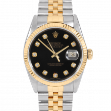 Rolex Datejust 16013 Custom Black Diamond Dial 36mm Yellow Gold & Stainless Steel - Fluted Bezel On A Jubilee Band - Pre-Owned