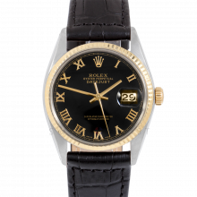Rolex Datejust 16013 Black Roman Dial 36mm Yellow Gold & Stainless Steel - Fluted Bezel On Leather Strap - Pre-Owned