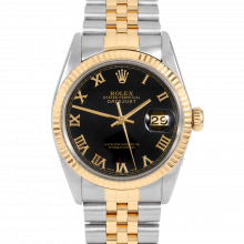 Rolex Datejust 36 mm 16013 Yellow Gold & Stainless Steel, Black Roman, Fluted Bezel On A Jubilee Band - Men's Pre-Owned Watch