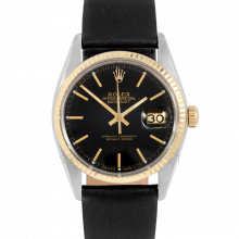 Rolex Datejust 16013 Black Stick Dial 36mm Yellow Gold & Stainless Steel - Fluted Bezel On Leather Strap - Pre-Owned