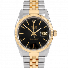 Rolex Datejust 16013 Black Stick Dial 36mm Yellow Gold & Stainless Steel - Fluted Bezel On A Jubilee Band - Pre-Owned