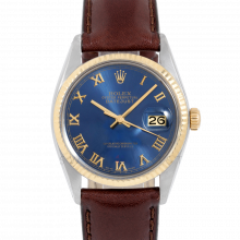 Rolex Datejust 16013 Blue Roman Dial 36mm Yellow Gold & Stainless Steel - Fluted Bezel On Leather Strap - Pre-Owned