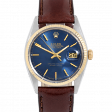 Rolex Datejust 16013 Blue Stick Dial 36mm Yellow Gold & Stainless Steel - Fluted Bezel On Leather Strap - Pre-Owned