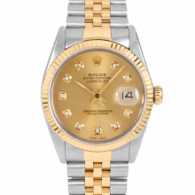 Rolex Datejust 16013 Custom Champagne Diamond Dial 36mm Yellow Gold & Stainless Steel - Fluted Bezel On A Jubilee Band - Pre-Owned