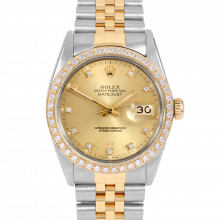 Rolex Datejust 16013 Factory Champagne Diamond Dial 36mm Yellow Gold & Stainless Steel - Custom Diamond Bezel On A Jubilee Band - Pre-Owned