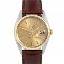 Rolex Datejust 16013 Champagne Stick Dial 36mm Yellow Gold & Stainless Steel - Yellow Gold Fluted Bezel On Leather Strap - Pre-Owned