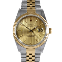 Rolex Datejust 16013 Champagne Stick Tapestry Dial 36mm Yellow Gold & Stainless Steel - Fluted Bezel On A Jubilee Band - Pre-Owned