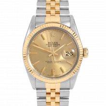 Rolex Datejust 16013 Champagne Stick Dial 36mm Yellow Gold & Stainless Steel - Fluted Bezel On A Jubilee Band - Pre-Owned