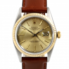 Rolex Datejust 16013 Champagne Tapestry Stick Dial 36mm Yellow Gold & Stainless Steel - Fluted Bezel On Leather Strap - Pre-Owned