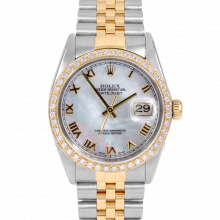 Rolex Datejust 16013 Mother Of Pearl Roman Numeral Dial 36mm Yellow Gold & Stainless Steel - Diamond Bezel on a Jubilee Band - Pre-Owned