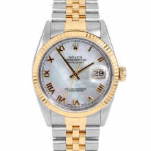 Rolex Datejust 16013 Mother of Pearl Roman Numeral Dial 36mm Yellow Gold & Stainless Steel - Fluted Bezel On A Jubilee Band - Pre-Owned