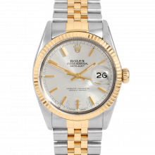 Rolex Datejust 16013 Silver Stick Dial 36mm Yellow Gold & Stainless Steel - Fluted Bezel On A Jubilee Band - Pre-Owned